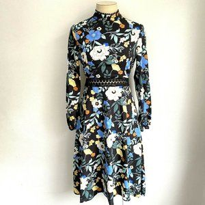 Boohoo Size 10 Dress High Neck Black Floral Midi